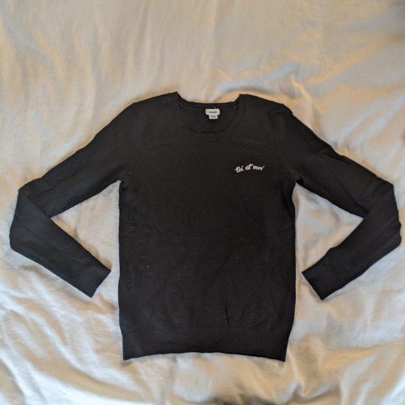 "Garage Black Sweater ""toi et moi"""